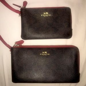 COACH brown monogram print with red interior wallet and wristlet clutch